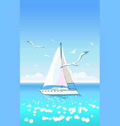 beautiful seascape with yacht and seagulls vector image