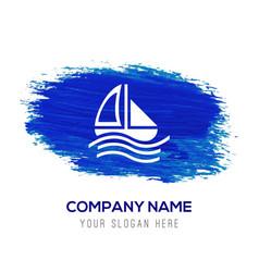 Boat icon - blue watercolor background vector