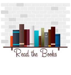 book shelf read the books vector image