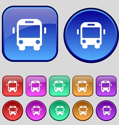 Bus icon sign A set of twelve vintage buttons for vector image