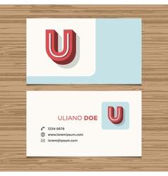 Business card letter U vector