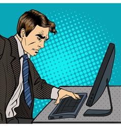 Businessman Works at the Computer Pop Art vector