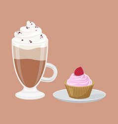 cappuccino and cupcake poster vector image