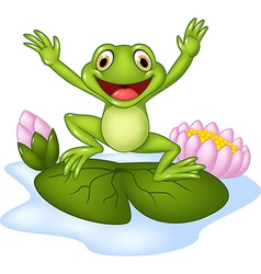 Cartoon happy frog jumping on a water lily vector