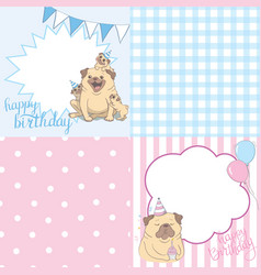 cartoon kawaii pug with party props in different vector image