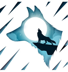 cartoon paper landscape wolf vector image