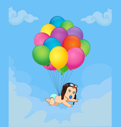 cartoon with baby boy flying on bunch of balloons vector image