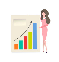 cartoon woman presenting diagram with income vector image