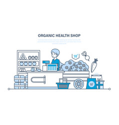 Cashier lays goods on showcase sells products vector