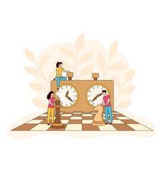 Chessboard chess clock tactic game filled vector