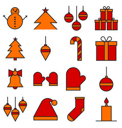 christmas icon set in filled line style vector image