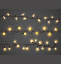 Christmas lights realistic a garland set vector