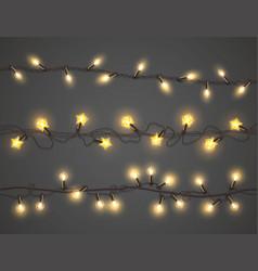 christmas lights realistic a garland set vector image