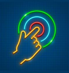 Click finger on touchscreen vector