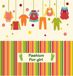 clothes collection for girl fashion background vector image