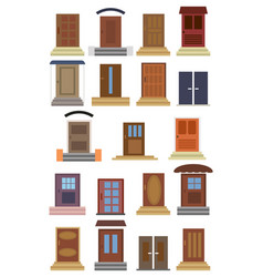 collection of closed entrance doors vector image