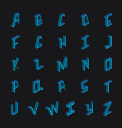 Collection with blue bright english font in vector