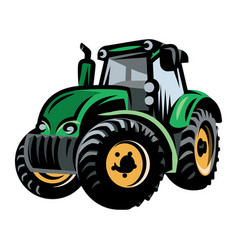 colored tractor pattern on farm background vector image