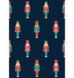colorful christmas nutcrackers seamless pattern vector image