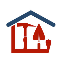 Construction house with a tool vector