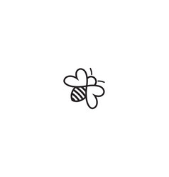 creative bee insect heart symbol abstract logo vector image