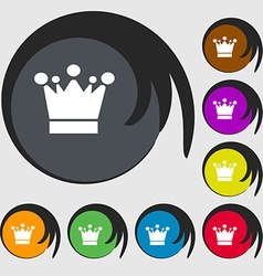Crown icon sign Symbols on eight colored buttons vector