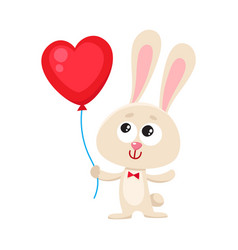 cute and funny rabbit bunny holding red heart vector image