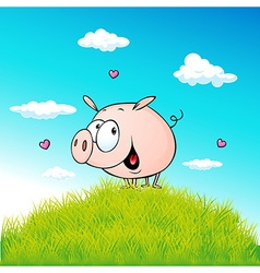 cute pig standing on green grass - cartoon vector image vector image