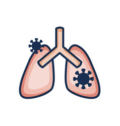 Diseased lungs icon line color style vector