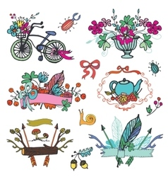 Doodle floral grouphand sketch vintage element vector