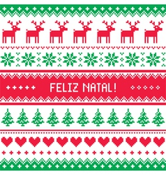 Feliz natal card - scandynavian christmas pattern vector