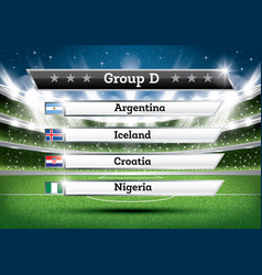 football championship group d soccer world vector image
