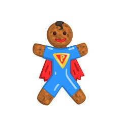 Gingerbread man in costume superman christmas vector