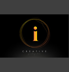 Gold artistic i letter logo design with creative vector