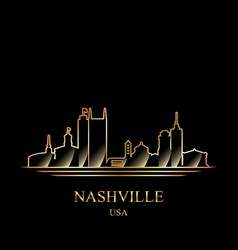 gold silhouette of nashville on black background vector image