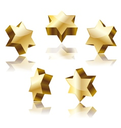 Golden star of David vector