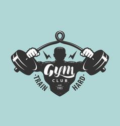 gym club logo or emblem bodybuilding sport vector image
