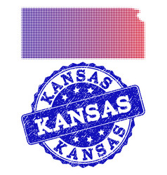 Halftone gradient map of kansas state and textured vector