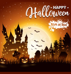 Halloween background with haunted church vector
