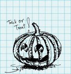 halloween pumpkin sketch on graph paper vector image