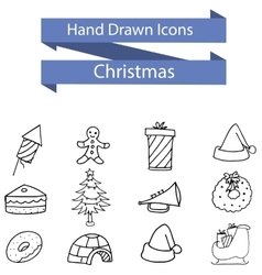 Hand drawn Christmas theme of icons vector