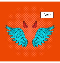 Hand drawn pop art of devil wings and devil horns vector