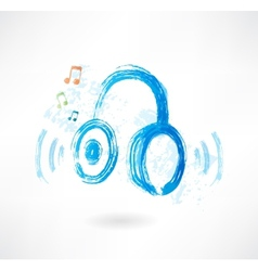 headphones grunge icon vector image