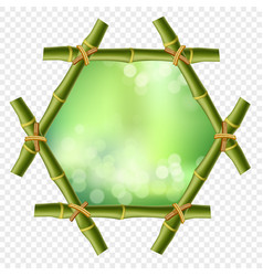 hexagonal green bamboo poles border with rope and vector image