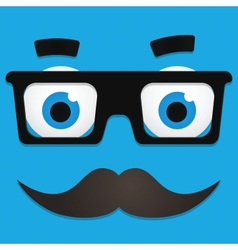 Hipster Avatar with Geek Glasses And Mustache vector