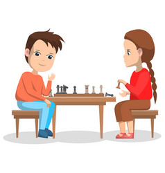 Hobchildren boy and girl playing chess vector
