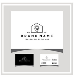 Home glass logo design and business card vector