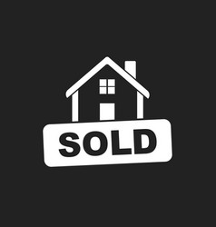 House with sold sign flat on black background vector