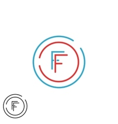 Initials FF letter logo monogram intersection vector image