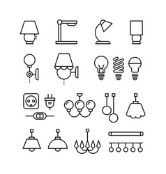 Lamp bulbs chandelier and electrical devices vector